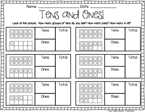 Tens and ones cut and paste worksheet free tens and ones counting