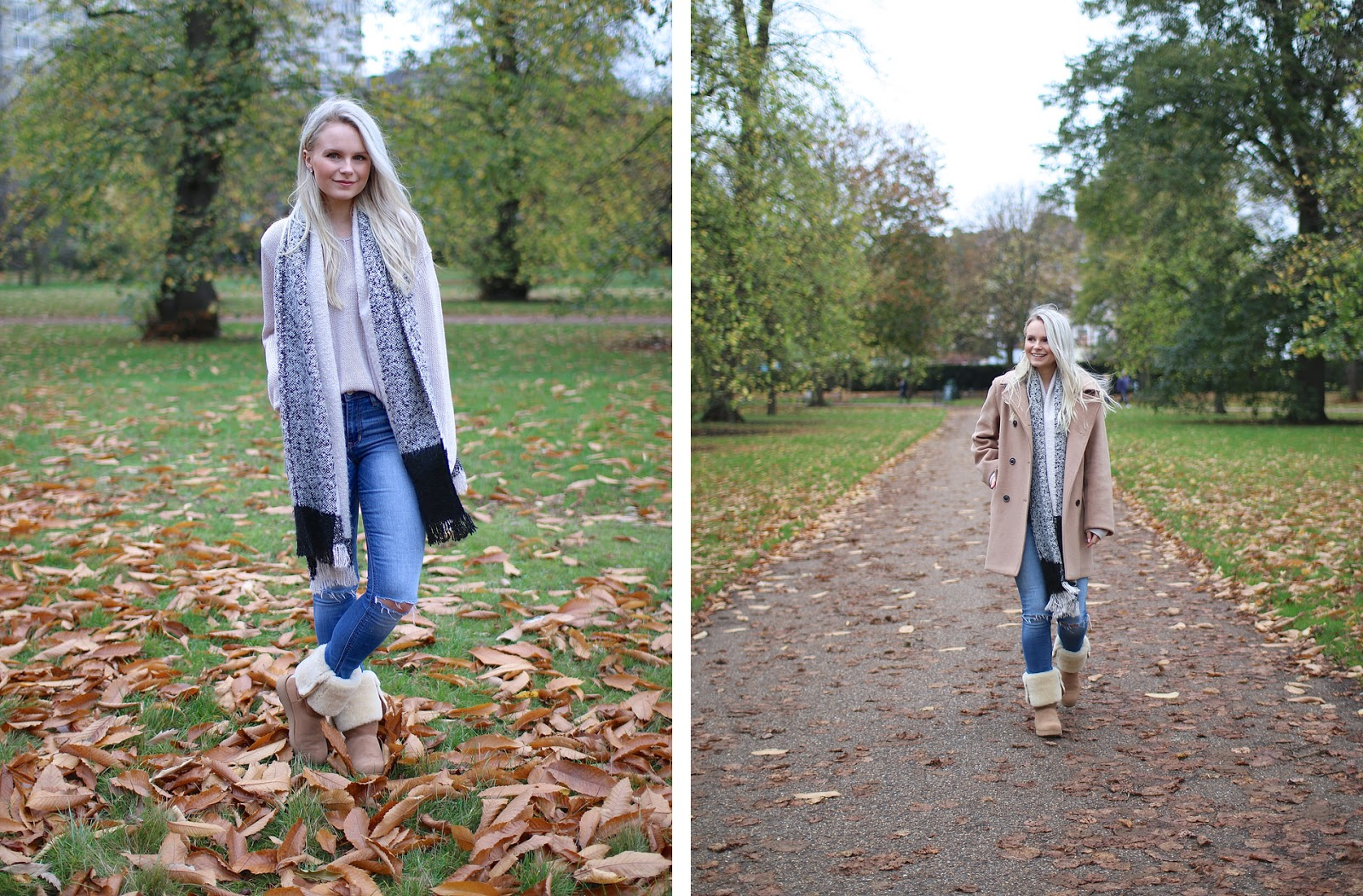 a girl wanders through hyde park in camel coat and comfy boots, river island scarf and ripped jeans
