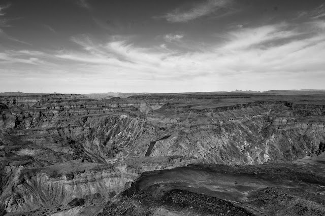 Black and white image of the Fish River Canyon