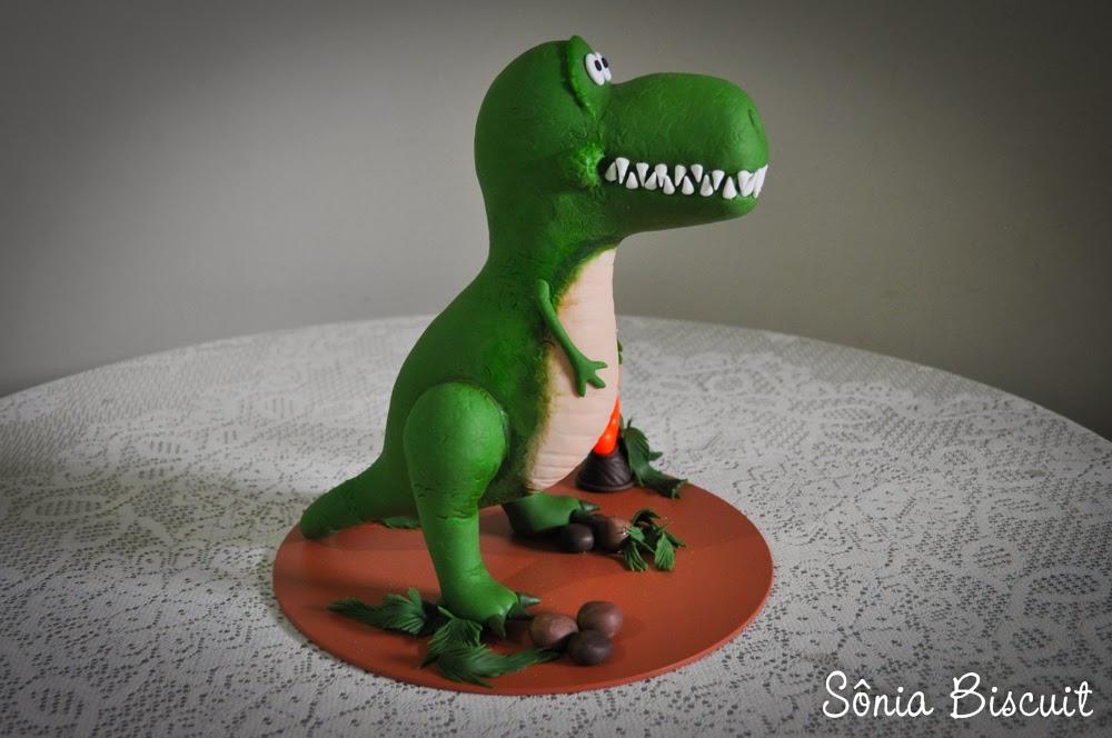 Topo de Bolo Dinossauro Biscuit