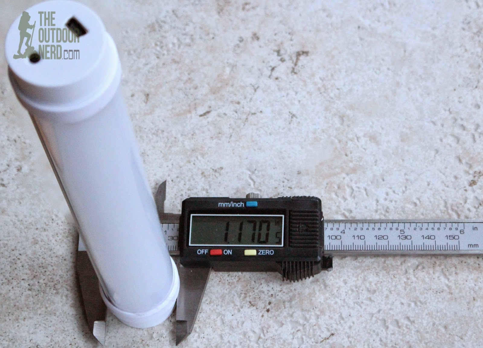 OxyLED Q6 Rechargeable USB Lantern - Caliper Measurement