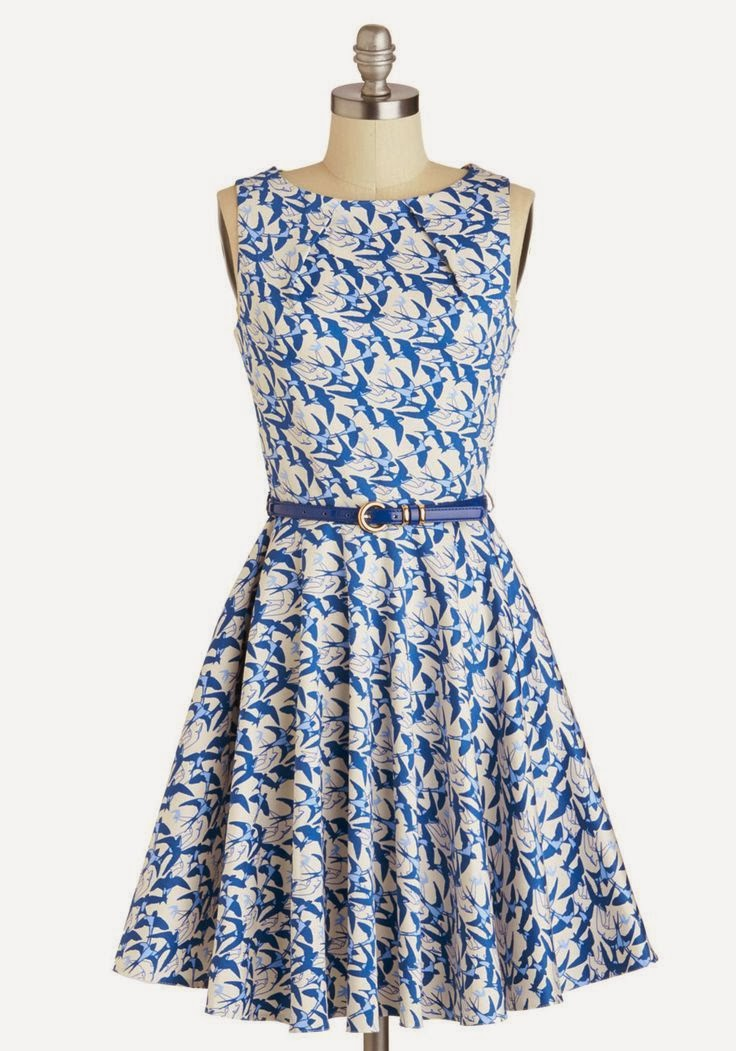 Modcloth dress, modcloth.com, Luck Be a Lady Dress in Avian, bird print dress, blue print dress, charm belt, fit and flare, vintage style, Closet brand