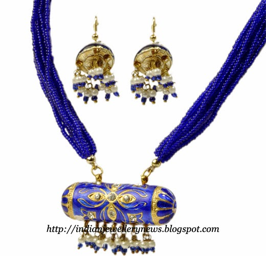 Rajasthani Blue Lac and Beads Necklace