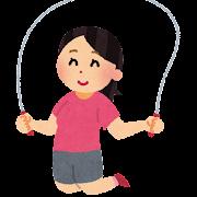 縄跳びを飛んでいる女性のイラスト