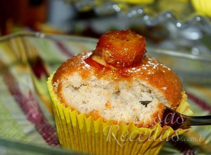 Receita de muffin preparado com banana