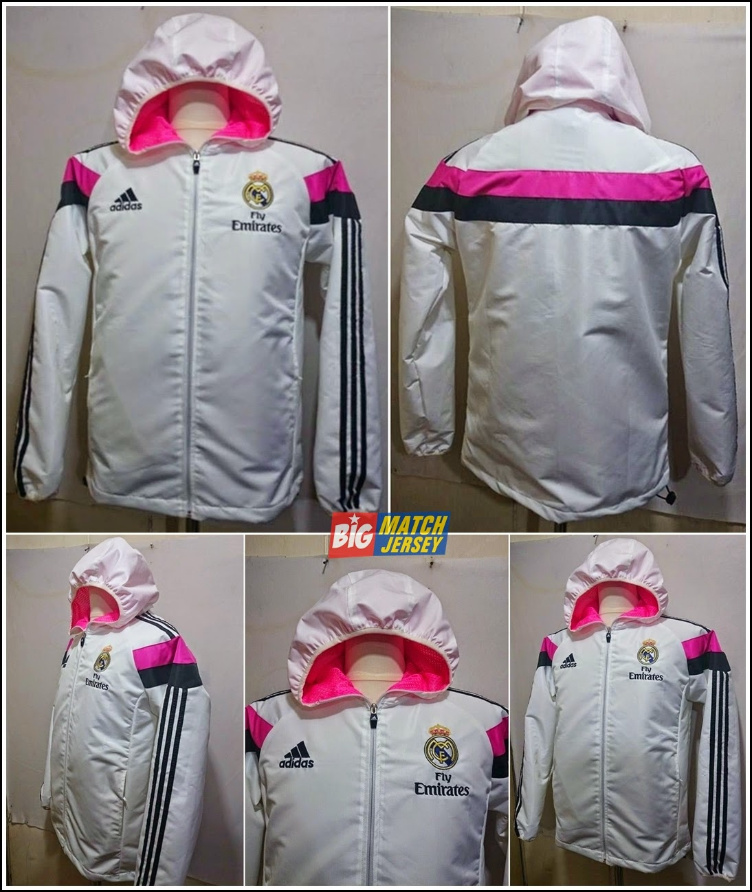 JAKET HOODIE WATERPROOF REAL MADRID WHITE 2015