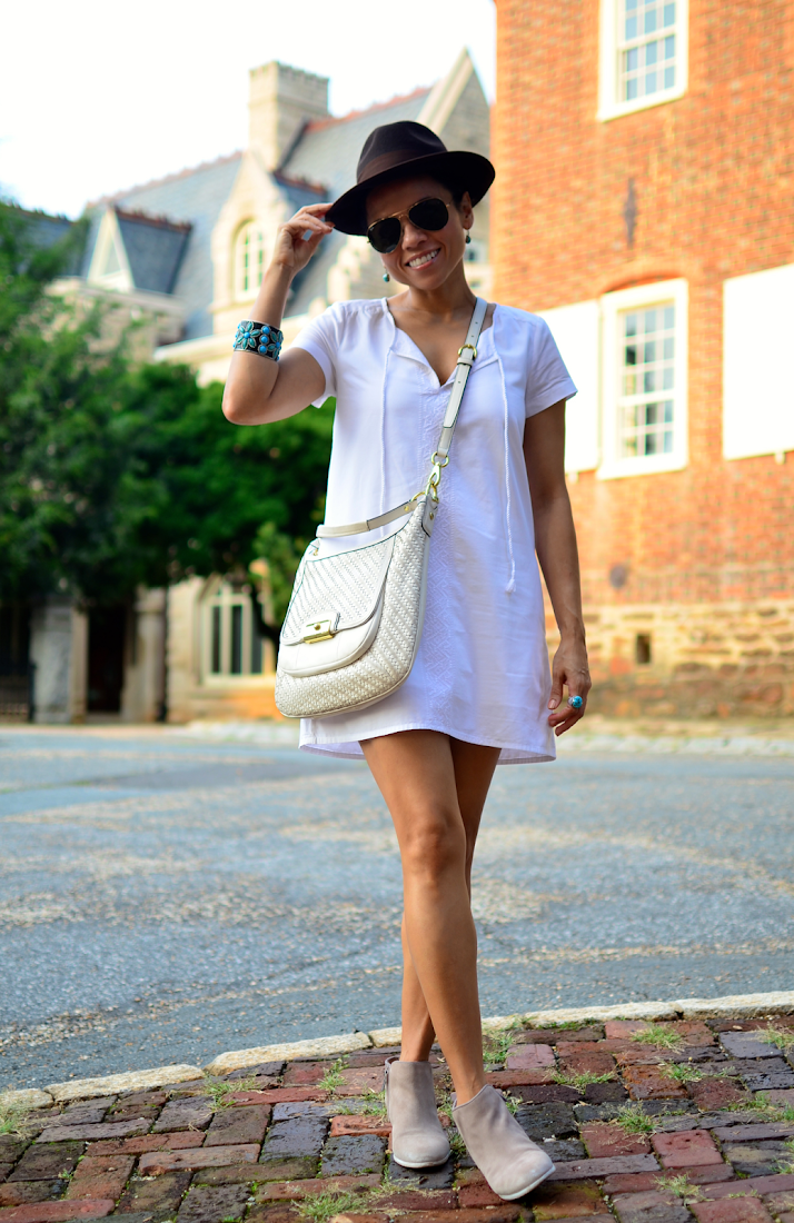 White dress street style look