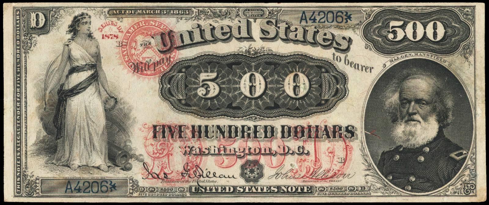500 Dollar bill note Major General Joseph King Mansfield