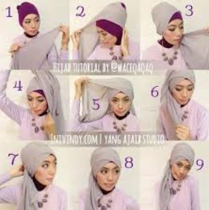 Cara Memakai Jilbab Praktis Untuk Ke PestaTutorial Hijab Versi Gambar