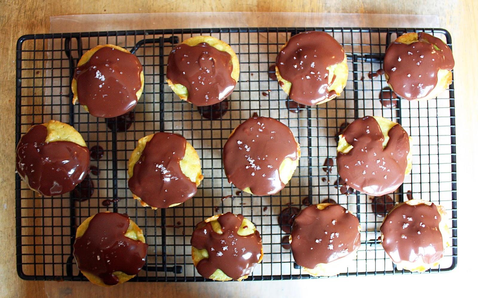 vegan avocado pound cake cupcakes with chocolate ganache and sea salt