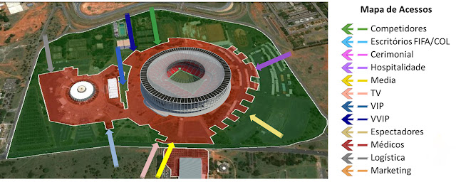 Mapa de acesso ao Estádio Nacional de Brasília Mané Garrincha na abertura da Copa das Confederações entre Brasil e japão