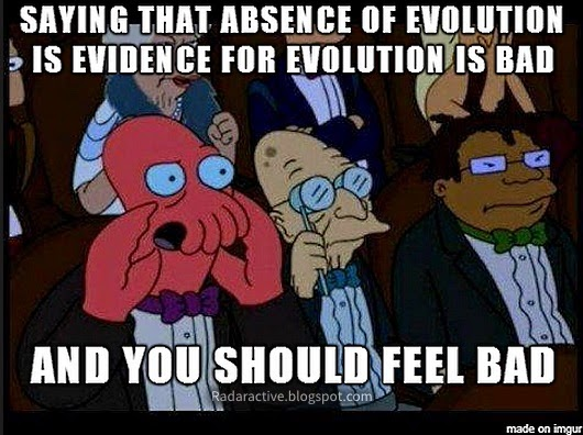 "Evolution is presented as an irresistible force. Except when it's not. ""Stasis"" is a meaningless excuse for lack of change, and is even presented as evidence of evolution! Not hardly."