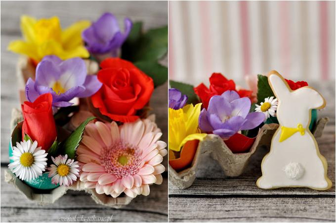 kwiaty, wielkanoc, ciastka, ciasteczka, króliczki, zajączki, pokryte lukrem