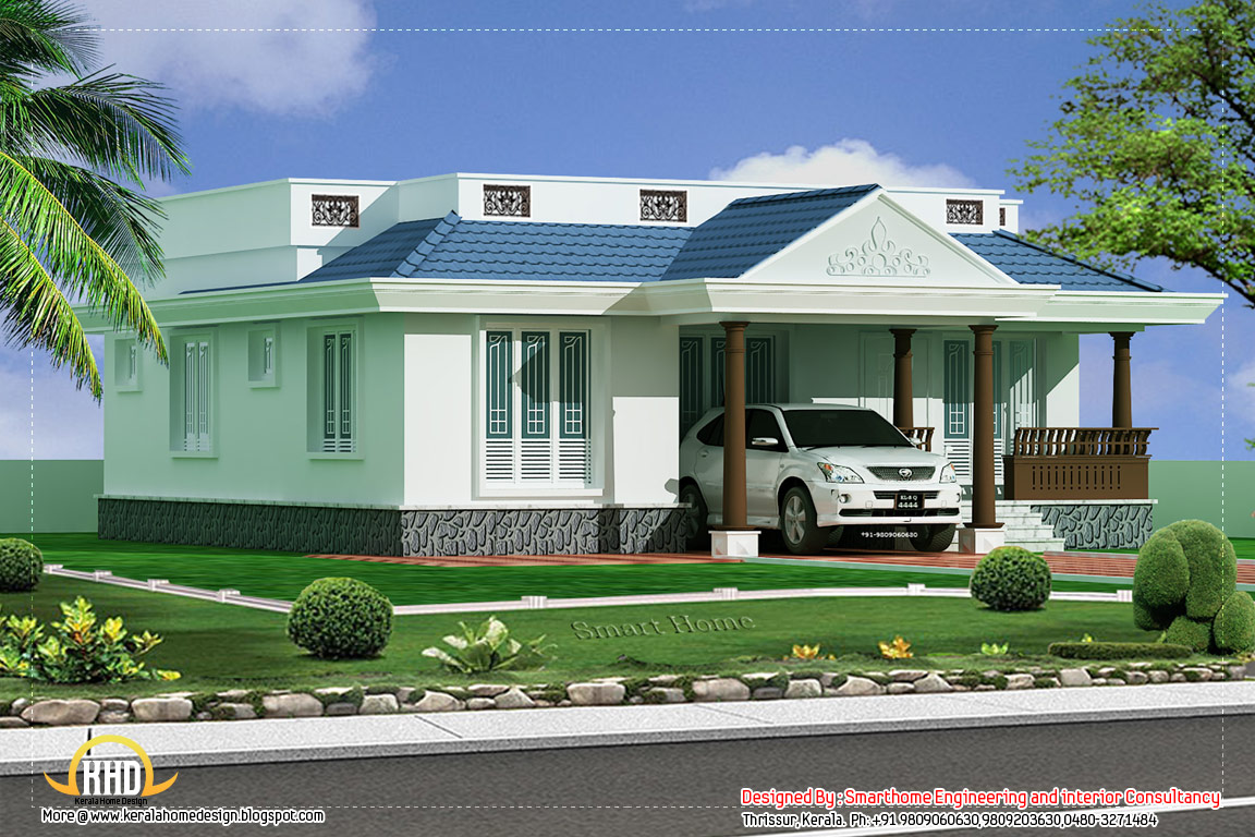 3 bedroom single story villa 1100 sq ft kerala house for Kerala home style 3 bedroom