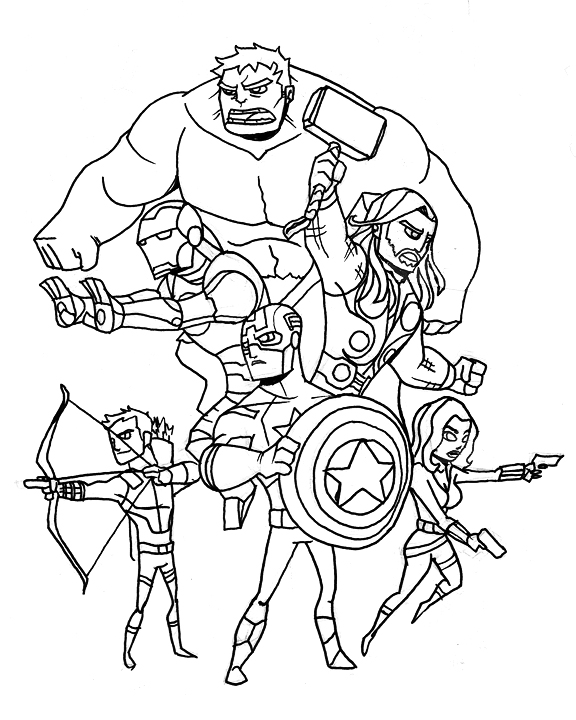 Avengers Group Coloring Pages : Avengers black widow coloring pages
