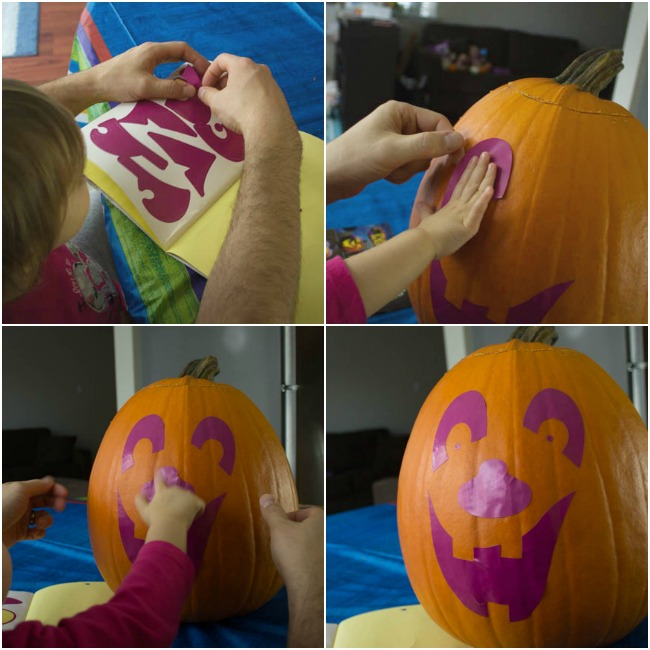 5 Tips to make pumpkin carving fun with kids.Use a sticker kit or contact paper as a carving guide! Great Ideas!