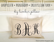 Make a decorative lumbar pillow from drop cloth canvas, a printed monogram .