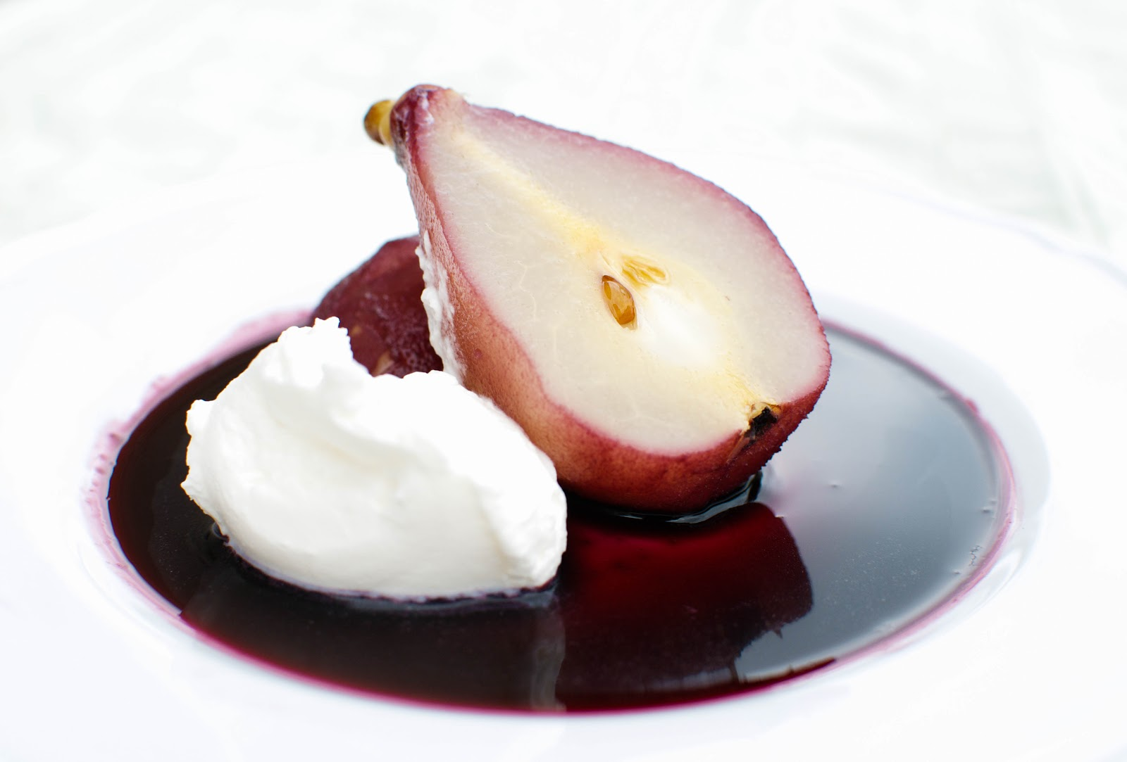 poached pears in red wine serves 4 4 pears peeled and left whole 1 4 ...