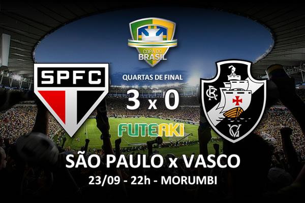 Veja o resumo da partida com os gols e os melhores momentos de São Paulo 3x0 Vasco pelas quartas de final da Copa do Brasil 2015.