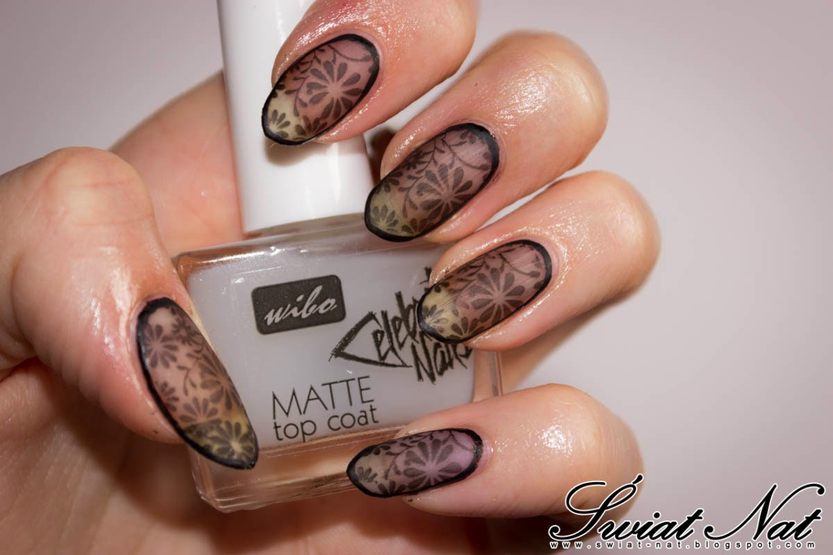 mani manicure nailart nails czarne kwiatki