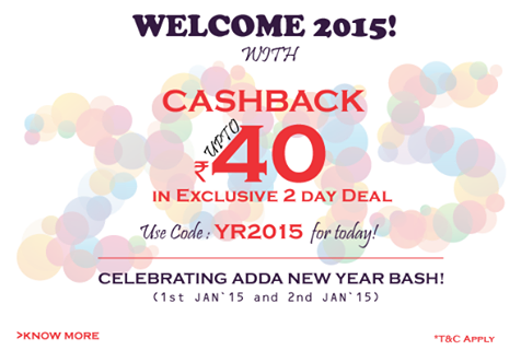 rechargeadda 40 Rs cashback new year