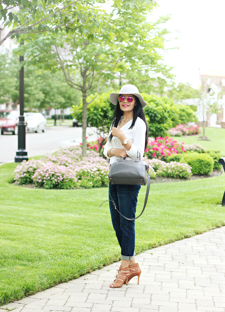 J.Crew Broken In Boyfriend Jeans, J.Crew Broken In Boyfriend Jeans Review, Mirrored Aviators, Colored Aviators, Kate Spade Pippa Bag