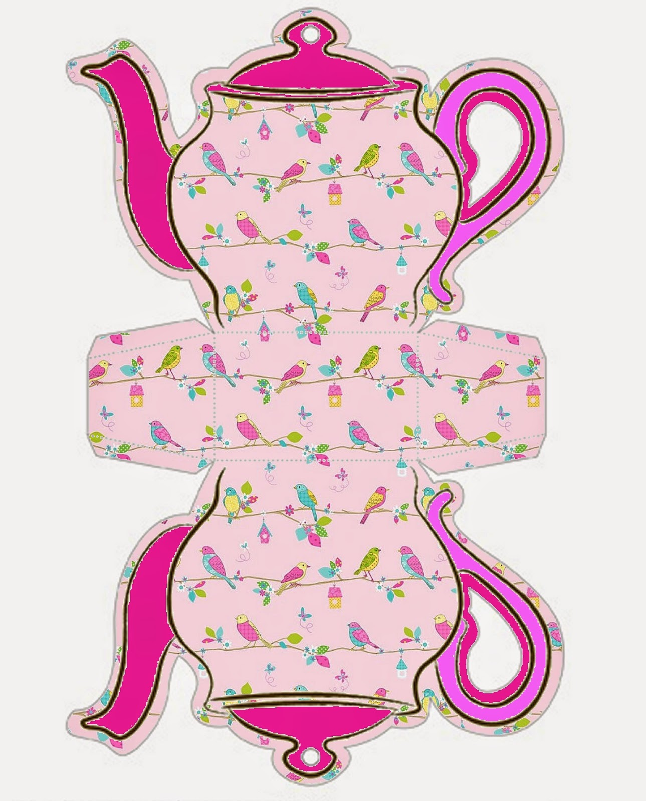 Retro Birds Teapot Free Printable Box