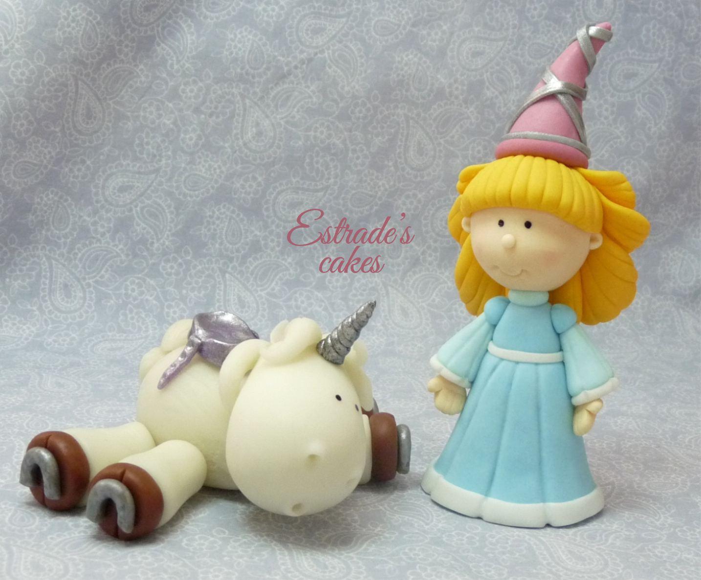 unicornio y doncella modelados