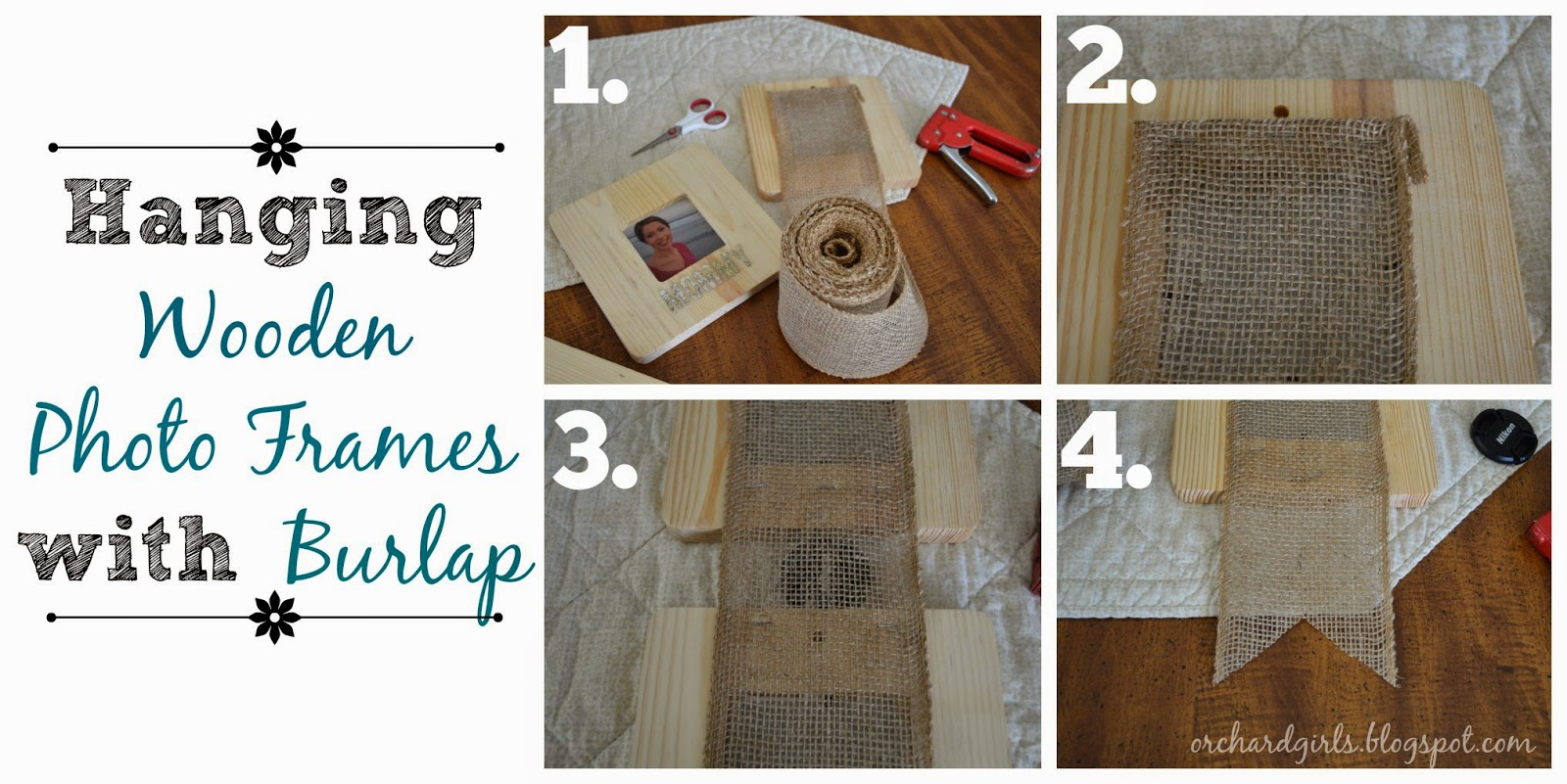 Orchard Girls: Hanging Wooden Photo Frames with Burlap