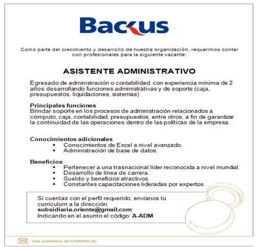 ASISTENTE ADMINISTRATIVO - BACKUS HUÁNUCO - EMPLEOS EN HUÁNUCO