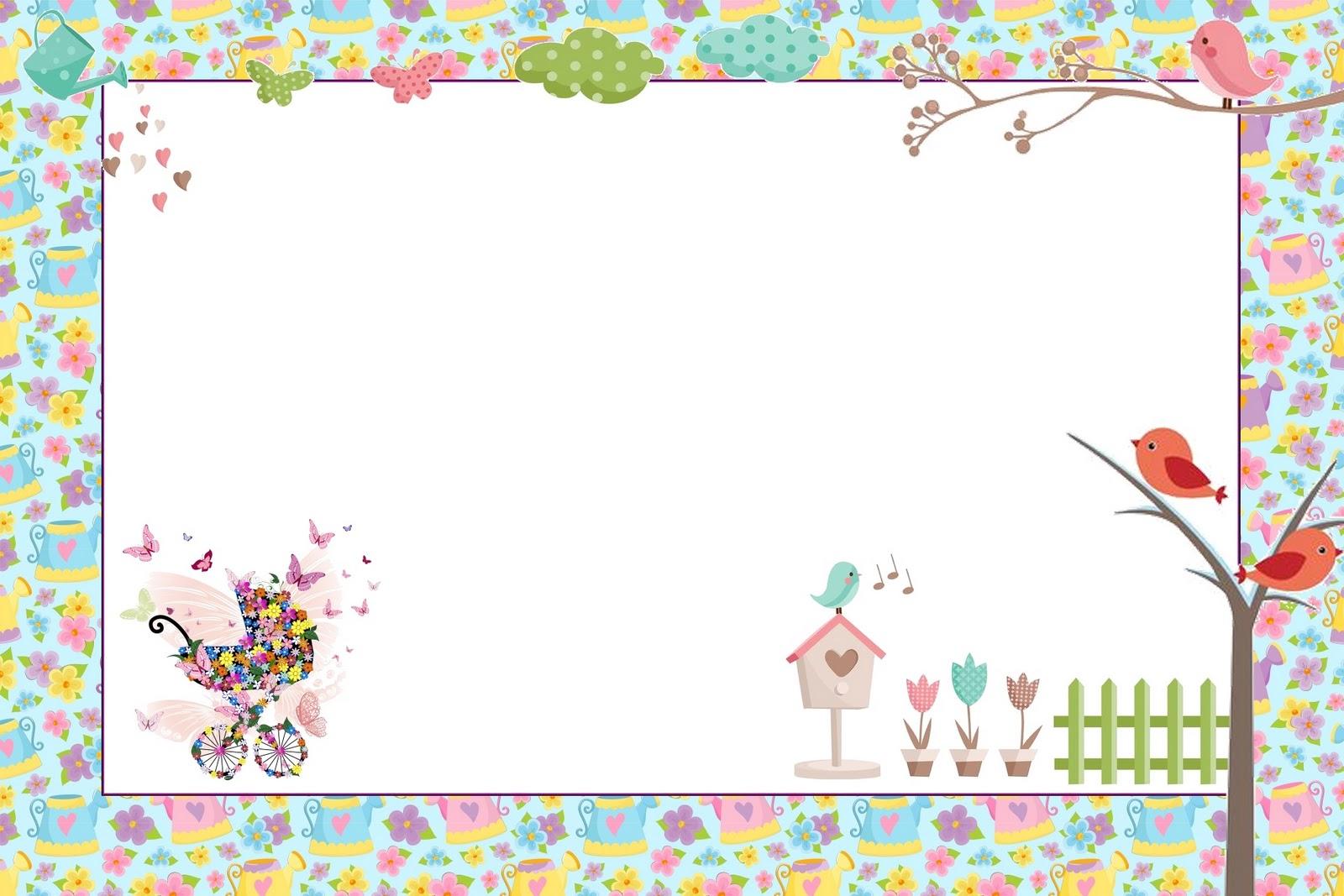 moldura para fotos tema jardim encantado : moldura para fotos tema jardim encantado:Jardim de Flores Rosa e Azul – Kit Completo com molduras para convites