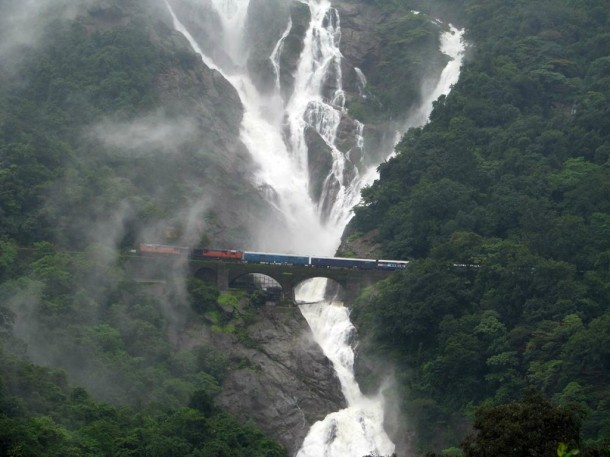 Best Wallpapers Of Train Under The Beautiful Waterfall