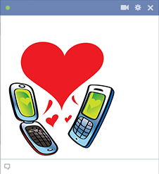 Love over cellphone icon