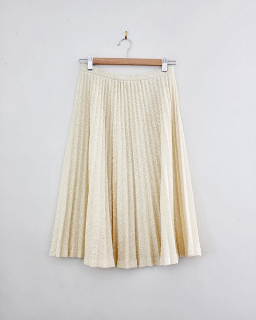 vintage cream pleat skirt at vintage shop CutandChicVintage.etsy.com