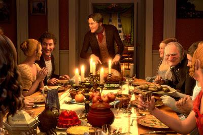 stół | jedzenie | świece | ludzie