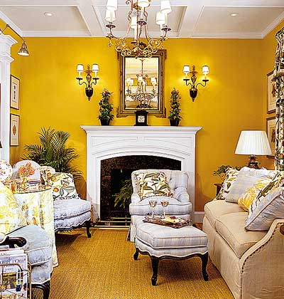 10 living room paint color ideas home designs plans Bright yellow wall paint