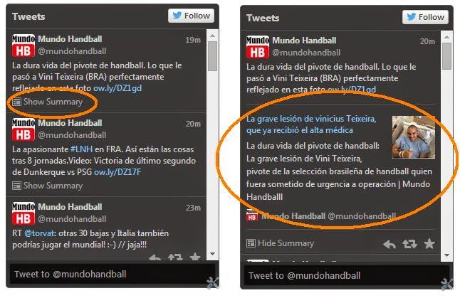 Tweets extendidos en Mundo Handball