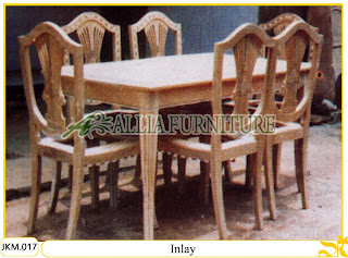 Kursi dan Meja Makan Kayu Jati Ukiran Inlay 6 Kursi
