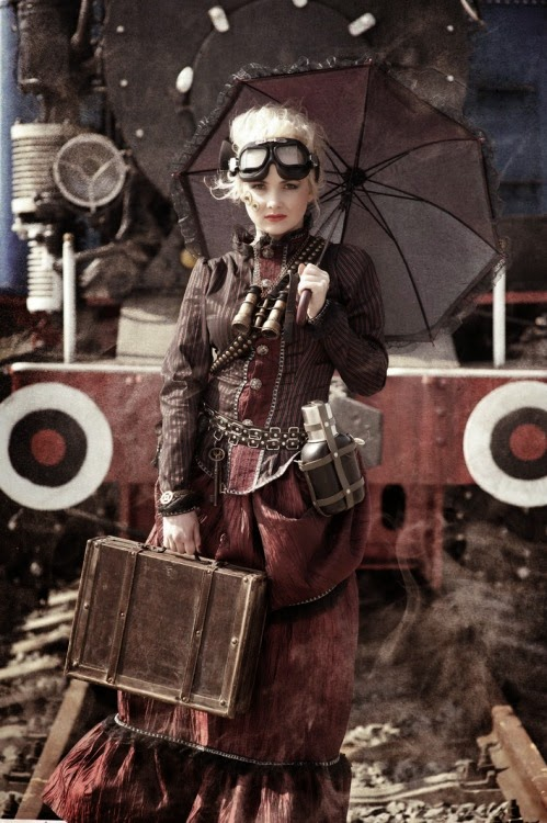 dieselpunk steampunk costume with parasol umbrella