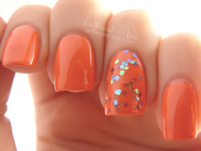 nails nailart nail art polish mani manicure Spellbound I Wanna Be A Mermaid sequin glitter Wet n Wild Club Havana orange teal blue green hex