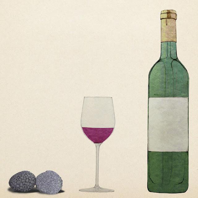 trufas ,  vino