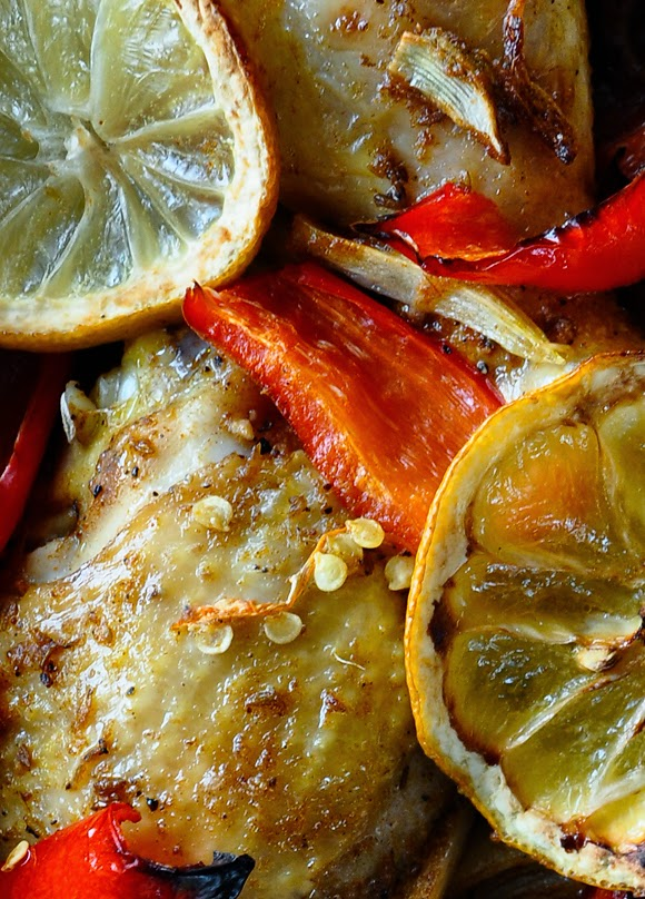 Chicken with lemon and spices