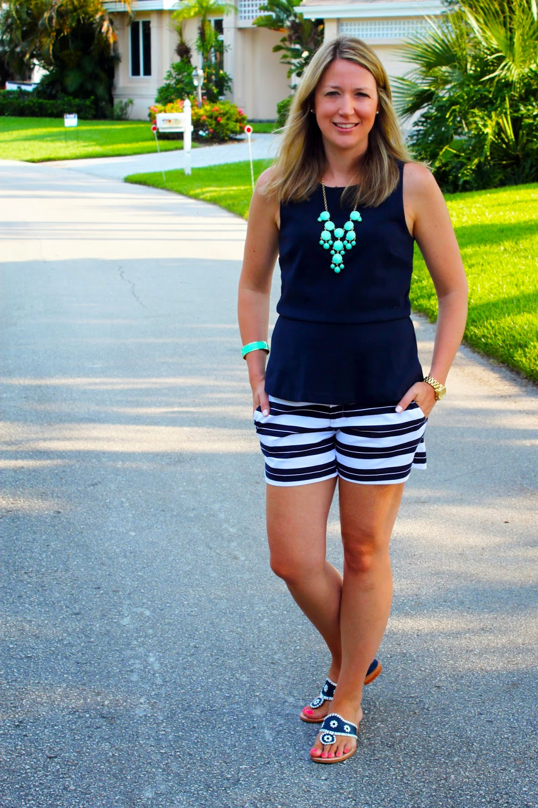 Navy Peplum Top + Navy Striped Shorts // The Salty Hanger
