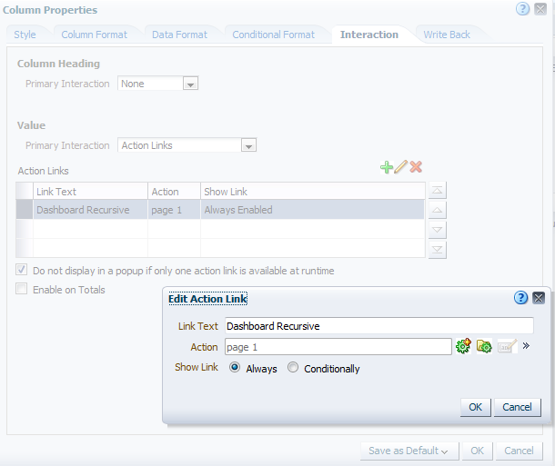 OBIEE Dashboard Recursive Action Link