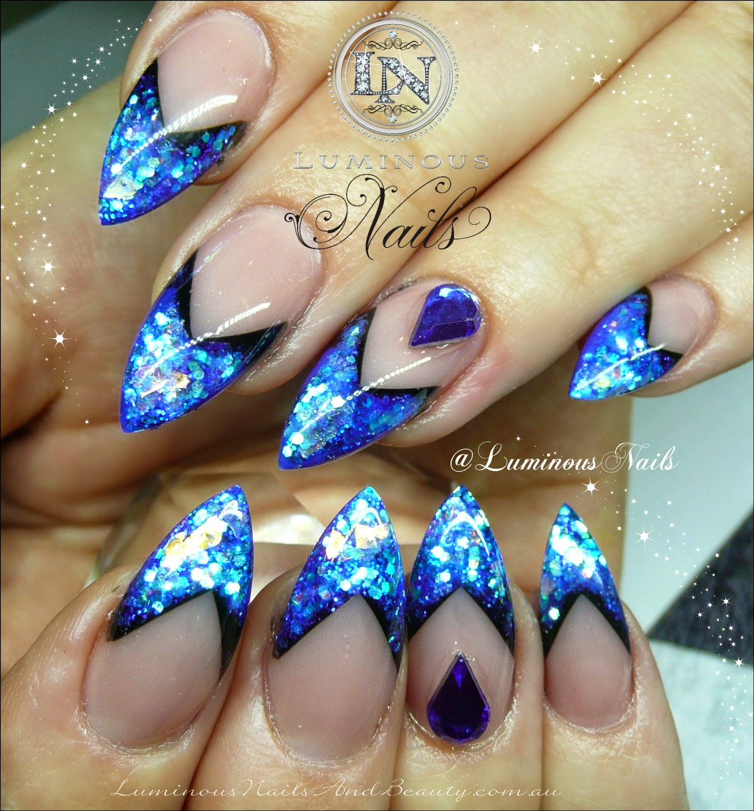 Royal blue and silver nail designs nail art gallery blue and white nail art photos prinsesfo Images