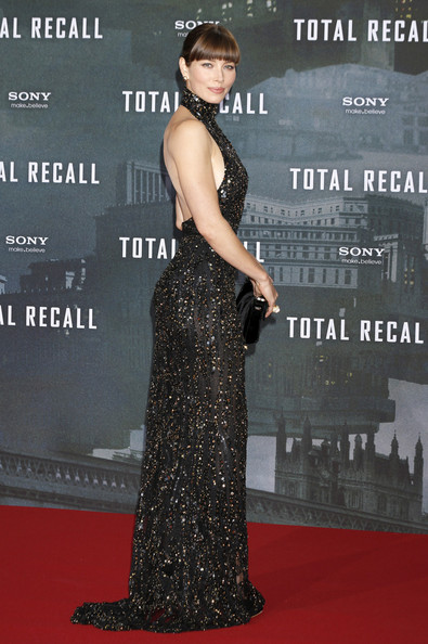 Jessica Biel in a sexy high-collared backless-and-see-through black gown at the Berlin premiere of her movie, 'Total Recall', held at the Sony Center in Berlin, Germany.