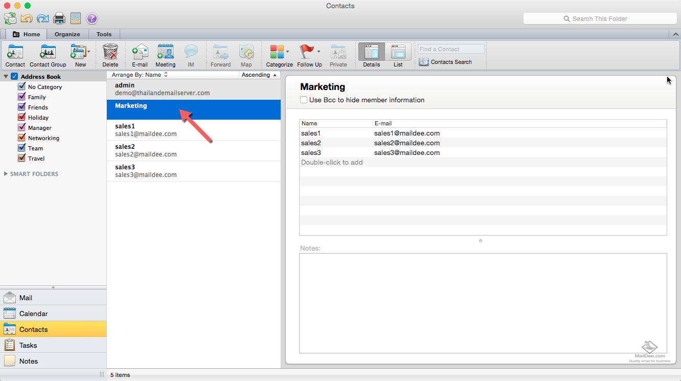 how to create a group in outlook mac