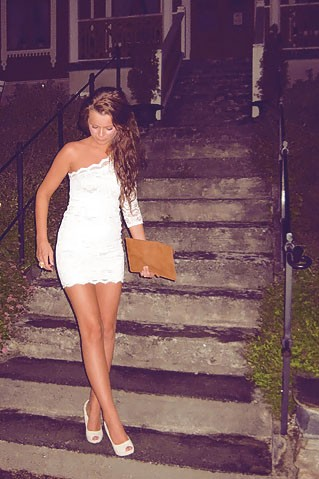 White Lace Dress on White Lace One Shoulder Dress   Camel Brown Clutch   Peep Toe Heels