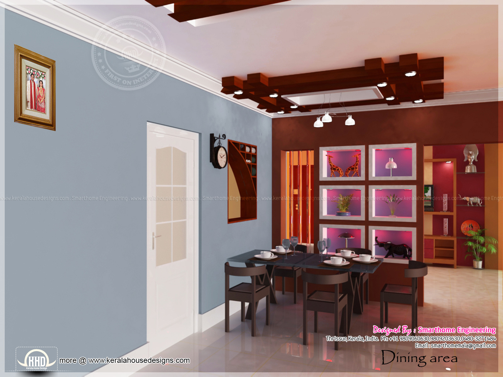 Home interior design by smarthome engineering thrissur for Dining room designs in kerala