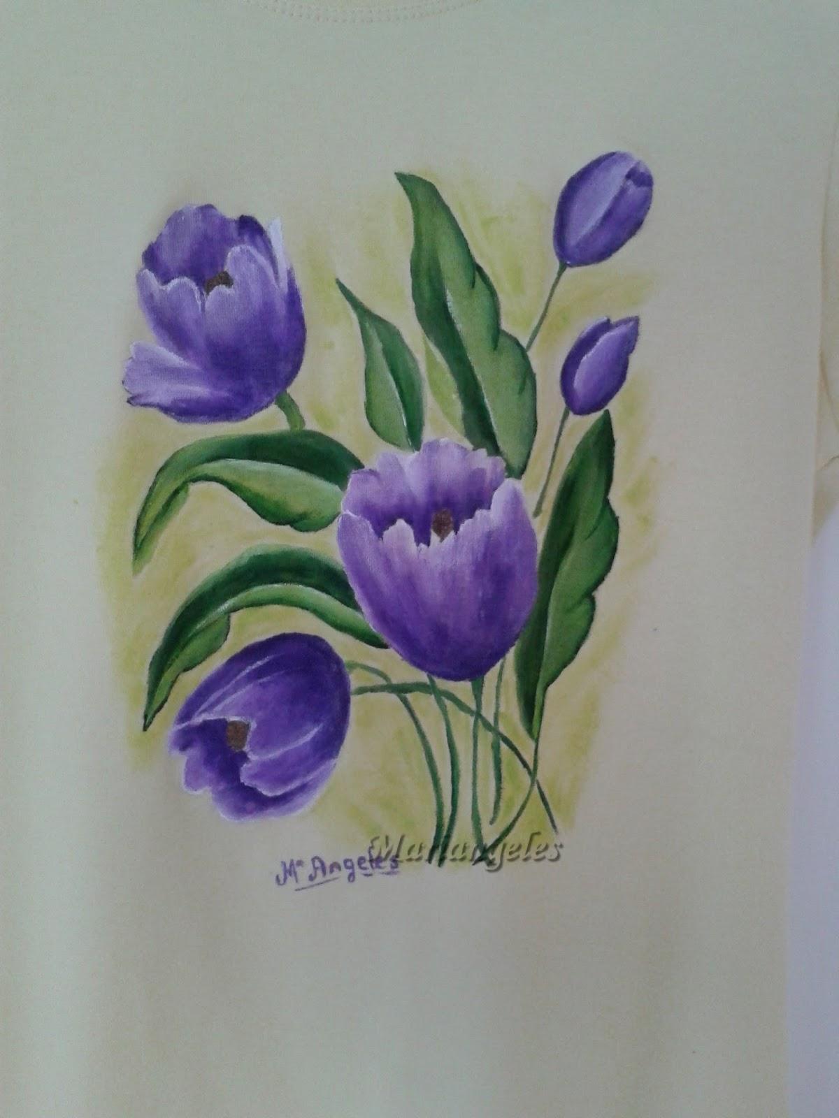 Pintura en tela camiseta con tulipanes - Pintura en tela dibujos ...